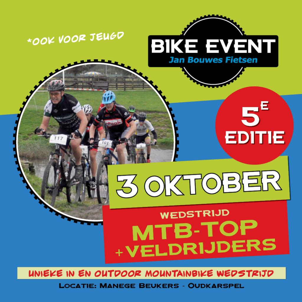 unieke in en outdoor mountainbike wedstrijd Jan Bouwes Fietsen Bike Event 2021 op 3 oktober bij Manege Beukers